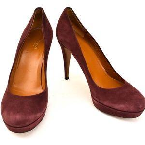 GUCCI: Burgundy, Leather Platform Heels/Pumps